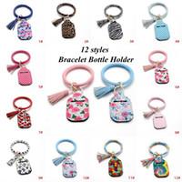12 styles Sanitizer Bottle Cover Neoprene Hand Sanitizer Holder Lipstick Holders Leopard Handbag Keychain PU Bracelet Bottle Holder YYA450