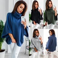 Brasão Mulheres Brasão Pullovers Batwing Sleeve Top Poncho Knit Cabo Tricô Outwear jaqueta de inverno morno mulheres roupa