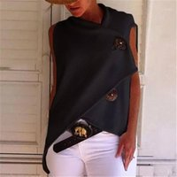 Tişörtleri Tasarımcı Katı Renk Kısa Kollu Gevşek Kadınlar Yaz Bayan Moda Tees Düzensiz Düğme Womens Tops