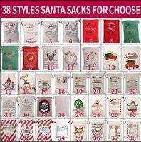 Noël Santa Sacks 38 styels Toile de coton Sacs grand cadeau sacs à cordonnet lourd organique personnalisée Décoration de fête de Noël Fête