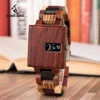 БОБО BIRD Новый дизайн Часы Мужские Ebony деревянные Чувствительная площади Timepiece Relogio Мужчина для подарка дня рождения его Drop Shipping J-R23