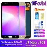 10 adet / grup Samsung Galaxy J701 için Süper AMOLED Paneller J701F J701M J701MT J7 Neo LCD Ekran Dokunmatik Ekran Meclisi Değiştirme