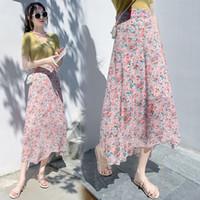 Saias voociec estilo fresco moda elegante saia feminina 2021 verão lazer magro cintura alta irregular daisy floral feminina