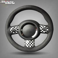 Рука сшитые рулевого управления черный замша Обложка автомобилей Колесо для Mini Coupe