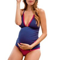 ARLONEET dot print straps split maternity swimsuit bikini embarazada Women clothes 2019 swimwear pregnant