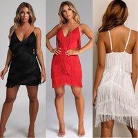 여성 섹시한 패션 드레스 Bodycon 깊은 V 넥 순수한 컬러 슬링 술 드레스 나이트 클럽 착용