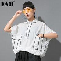 Женские блузки Рубашки [EAM] Женщины линии кармана большие размеры блузка отворот наполовину Batwing рукав свободная подходит рубашка мода прилив весна лето 2021 1