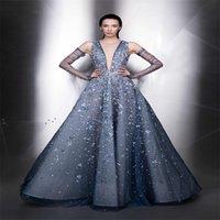Великолепная Зияд Nakad вечернее платье со съемными рукавами аппликация Кружева платье Горячие продажи Sexy V-образным вырезом сшитое взлетно-посадочной полосы моды платье