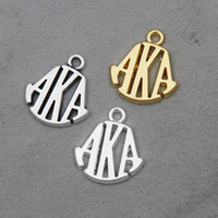Lettera greca in lega all'ingrosso online Charms Vintage Aka Lettera Bangle Charms 50pcs / lot 15 * 19mm AAC1090