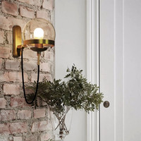 Loft industrial nordic retro postmodern minimalist glass ball wall lamp for bedroom bedside dining hallway hotel