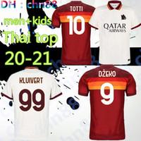 Jersey de football As Rossi Roma Dzeko Zaniolo Rome Totti Perotti Kolarov 20 21 Chemise de football 2020 2021 Hommes + Kit Kit Uniformes Maillot