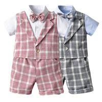 Moda Yaz Bebek Erkek Beyefendi Suits Yenidoğan Kıyafetler Bebek Kıyafetleri Gömlek Üstleri + Şort 2 adet / takım Bebek Erkek Giysileri Erkek Setleri B1872