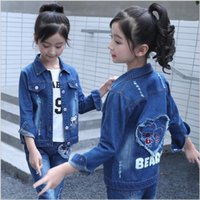 Autumn Denim Jeans Jacket Outfits for Kids Girl Clothes Set ...