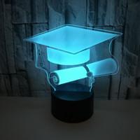 Acrilico Home 3D Atmosfera tavolo piccola lampada Cappello Laurea lampada colorata Remote Touch di controllo 3D notte si illumina Graduate regalo