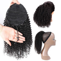 10-24inch Kinky Curly Ponytail Drawstring Cheveux Indien Extensions Poil de queue pour le clip African American 1pièce Dans Hair Extensions