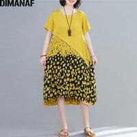 Femminile Lady DIMANAF Plus Size donne vestono estate Sundress Vintage Vestiti allentato casuale impiombato stampa del leopardo vestiti dei vestiti