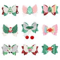 2020 Kinder Hairpin-Weihnachtsfest Ornamente Weihnachts Bow Haarnad Bögen Cartoon-Funkeln-Puder Kinder Hairpin Haarschmuck BarrettesD82405
