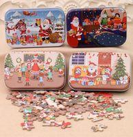60PCS / مجموعة عيد الميلاد لغز خشبي لعب الاطفال بابا نويل ثلج مزدوجة بانوراما الأطفال المبكر للتربية بانوراما هدية زينة GGA3678