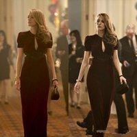 Bourgogne Blake bal animé robes âge de Adaline Film gaine Sexy col V à manches longues Robes formelles Party Robe de soirée