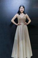 5707 en stock Robes de bal Vente Hot V-cou V en satin à manches Paillettes longue soirée pas cher Party Robes