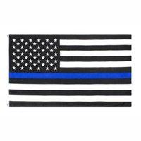 fabbrica diretta 3x5Fts all'ingrosso 90cmx150cm Law Enforcement Officers polizia sottile linea blu USA US American Flag DWB1088