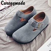 Careaymade-2020 retro thickened flat round head of cattle nubuck genuine leather belt buckle shoes,Single plus velvet,4 colors