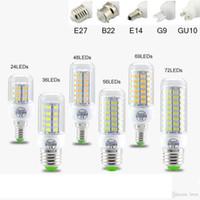 SMD5730 E27 GU10 B22 E12 E14 G9 LED 7W 9 W 12W 15W 18W 110V 220V 360 açı LED Ampul Led Mısır ışığı soğanları