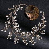 Düğün Gelin Hairband Saç Aksesuarları Düğün Tiara Çiçek Rhinestone İnci Saç Süsler headpieces İçin Kadın