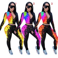 Mulheres Treino Designers Graffiti Tie-dye Imprimir manga comprida Zipper Cortar jaqueta casaco Calças Leggings Autumn dois conjuntos Vestuário peça D81704