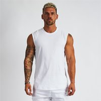 Compression Sleeveless Shirt Fitness Mens Tank Top Cotton Gym Bekleidung Bodybuilding Stringer Tank Top Muscle Singlet Workout Weste MX200815