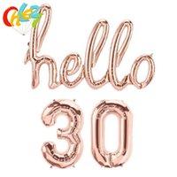 Parti Dekorasyon 1 Takım 16 inç Numarası Folyo Balon Yapışık Mektuplar Hello 30 40 50 Gül Altın Gümüş Renk Balonlar Için Gümüş Renk