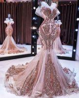 De nouvelles robes de soirée sirène d'or rose à long brillant sequin appliques de perles bal robe queue de poisson robe de soirée