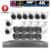 Systems H.265 CCTV Caméra Système de sécurité Kit 16ch Poe 5MP NVR 4K Outdoor HD Color Vision Night Visionnage Vidéo Signé IP