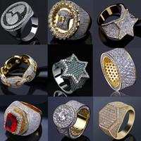 14k Gelado Gelado Anéis Anéis Mens Hip Hop Jóias Bling Bling Cool Zircônia Pedra Luxo Deisnger Homens Hiphop Anéis Presentes