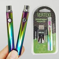 VERTEX arc-en-Vape Battery Cartridge 350mAh VV Preaheating 510 fil Vape Pen batterie Tension ajustable USB Chargeur huile Chariots battries