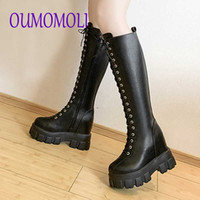 chunky platform pu Leather Knee High Boots Women Retro Punk ...
