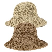 Women Vintage Straw Woven Sun Visor Hat Solid Color Wide Bri...