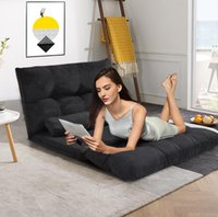 DHL 24h Livraison gratuite ORI FUR. Canapé-lit pliant réglable Futon jeu vidéo Sofa Lounge Sofa avec deux oreillers (noir) WF015436BAA