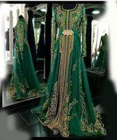 Изумрудные мусульманские Официальные вечерние платья с длинными рукавами Абай Designs Дубай турецкого платье партия платье марокканского кафтан Abendkleider