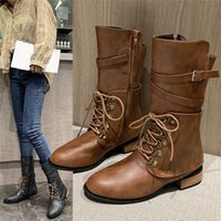 New Women Mid Calf Boots Autumn Winter Lace Up Vintage Flat ...