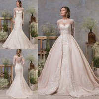 2020 Gorgeous Mermaid Wedding Dresses With Detachable Train Jewel Neck Lace Appliqued Long Sleeve Bridal Gowns Custom Beach