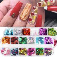 12 ızgaraları Yıldız Tırnak Sequins Flakes 1819 Maple Leaf Nail Art Glitter Yeni Altın 3D Dekorasyon Holografik Lazer Toz Paillette Güz