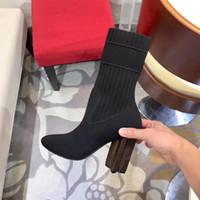 2020 Silhouette Halbstiefel Frauen Stretchstof Bootie Martin Stiefel hohe Absätze Winter-Druck-Blumen-Absatz-Damen Hochzeit Schuhe