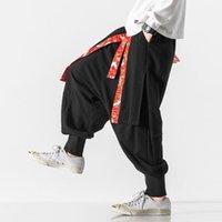 Мужские штаны 2021 Мужчины Китайский стиль Hanfu Широкая нога перекрестные брюки Японские хлопчатобумажные льняные вскользь днища Tai Chi Свободные брюки