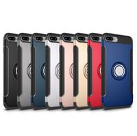 Beschermer Telefoonhoesje met Ring Houder Kickstand Back Cover Case voor iPhone 12 11 Pro Samsung Note 9 S9 Plus S10 Lite