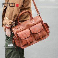 AETOO Vintage leather handbags leather mens business casual briefcases minimalist youth shoulder bags