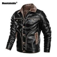 Mountainskin Winter-Männer dicken PU-Jacke Herren-Motorrad-Lederjacke Fleece Warm Lederjacken Male-Marken-Kleidung SA850