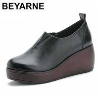BEYARNE autumn classic black round toe pumps women platform shoes side zipper genuine leather high heel platform casual shoes