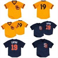 San Diego 19 Tony Gwynn 1982 1996 Пользовательские винтажные бейсбольные джерси желтый флот сшитые название сшитого номера