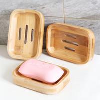 Ванной комната мыльница лоток Контейнер Bamboo Natural Box мыльница ванная Экологичный деревянный Soap Box хранение